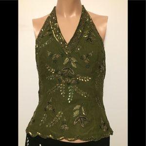 Olive silk sequin halter corset